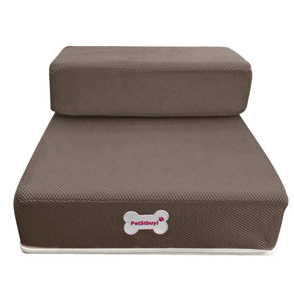 Jeeke Dog Stairs & Steps Breathable Mesh Foldable 2 Steps Pet Stairs Ladder Detachable Pet Bed Stairs Dog Ramp Perfect for Bed & Sofa, Ship from USA (Brown) by Jeeke