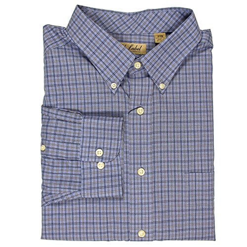 Roundtree & Yorke Gold Label Non-Iron Wrinkle Free Perfect Performance Men's Big & Tall Long Sleeve Shirt (French Blue/Navy - Shirt Poplin Resist Wrinkle
