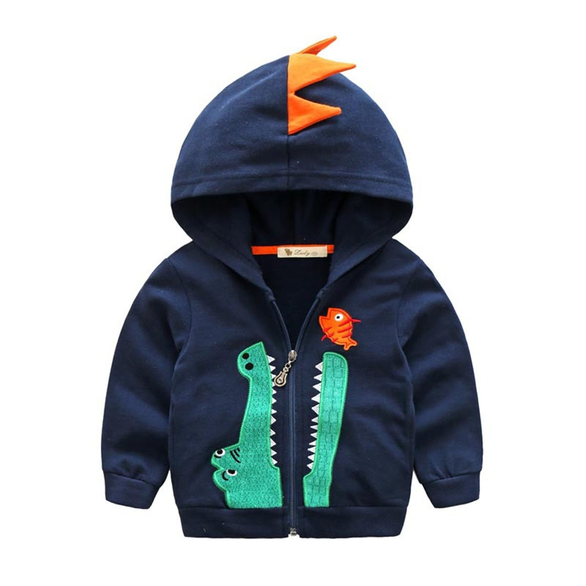 Dealone Baby Boys Long Sleeve Dinosaur Hoodies Kids Sweatshirt Toddler Zip-up Jacket