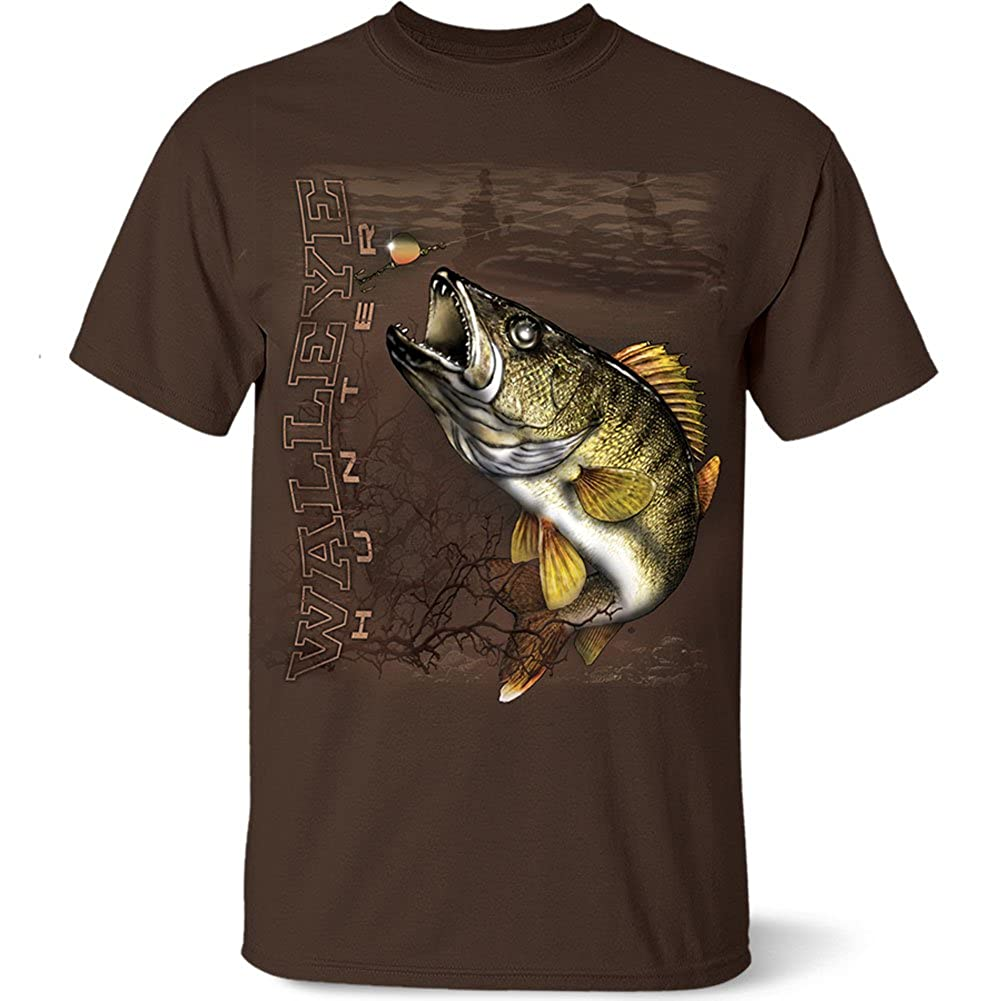 ea9794e6cce Amazon.com: Follow the Action Walleye Hunter One-Sided Short Sleeve ...