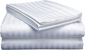 Extra Deep Sheets-Cotton Bed Sheets - 100% Cotton - 400 Thread Count - 22 Inch Extra deep Pocket Fitted Sheet with Elastic All Around (4 Pcs Sheet Set) - (White Stripe - King Size)