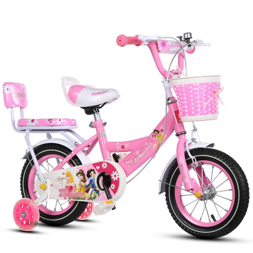 HAIZHEN マウンテンバイク 子供用自転車 トレーニングホイール付きの少年の自転車と少女の自転車 12インチ、14インチ、16インチ、18インチ 子供用ギフト 新生児 B07CG33YKC 18 inches|ピンク ぴんく ピンク ぴんく 18 inches