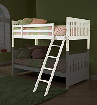 Lauren Bunk Twin Bed Deck Ladder And Guard Rail In White Amazon Co