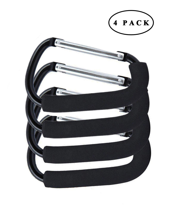 Gorse XLarge Carabiner Aluminum Stroller Hook,Stroller Hooks Set Hanger Organizer Accessories for Shopping Bags, Purses Black