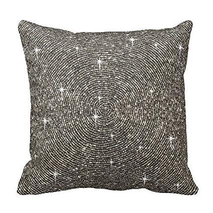Amazon Decorative Cushion Cover White Silver Gray Bling Impressive Bling Decorative Pillows