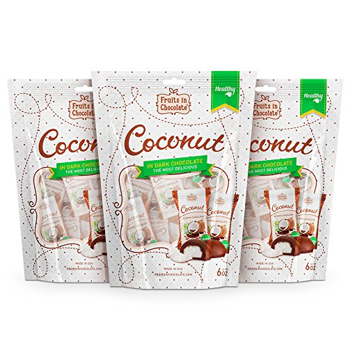 Fruits in Chocolate Dark Chocolate Covered Coconut (Pack of 3)