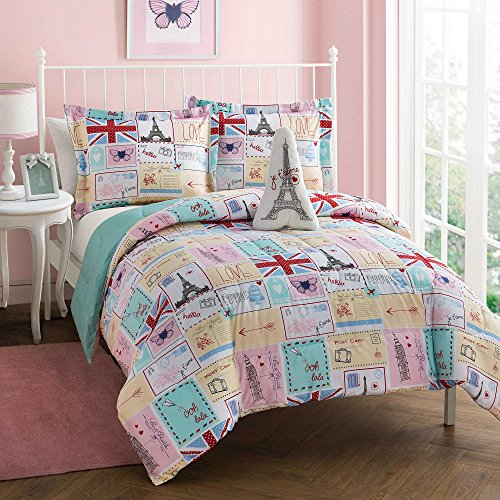 Paris Theme Pink Butterfly 8-Piece Kids Bedding Reversible Aqua Chevron Bed in a Bag TWIN FULL Comforter Set for Girls (Teal Chevron Toddler Bedding)