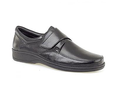 836b8d74270 Roamers BECK Mens Leather Wide E Fit Velcro Shoes Black  Amazon.co.uk   Shoes   Bags