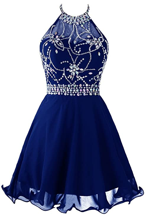 Topdress Women's Short Beaded Prom Dress Halter Homecoming Dress Backless Royal Blue US 10