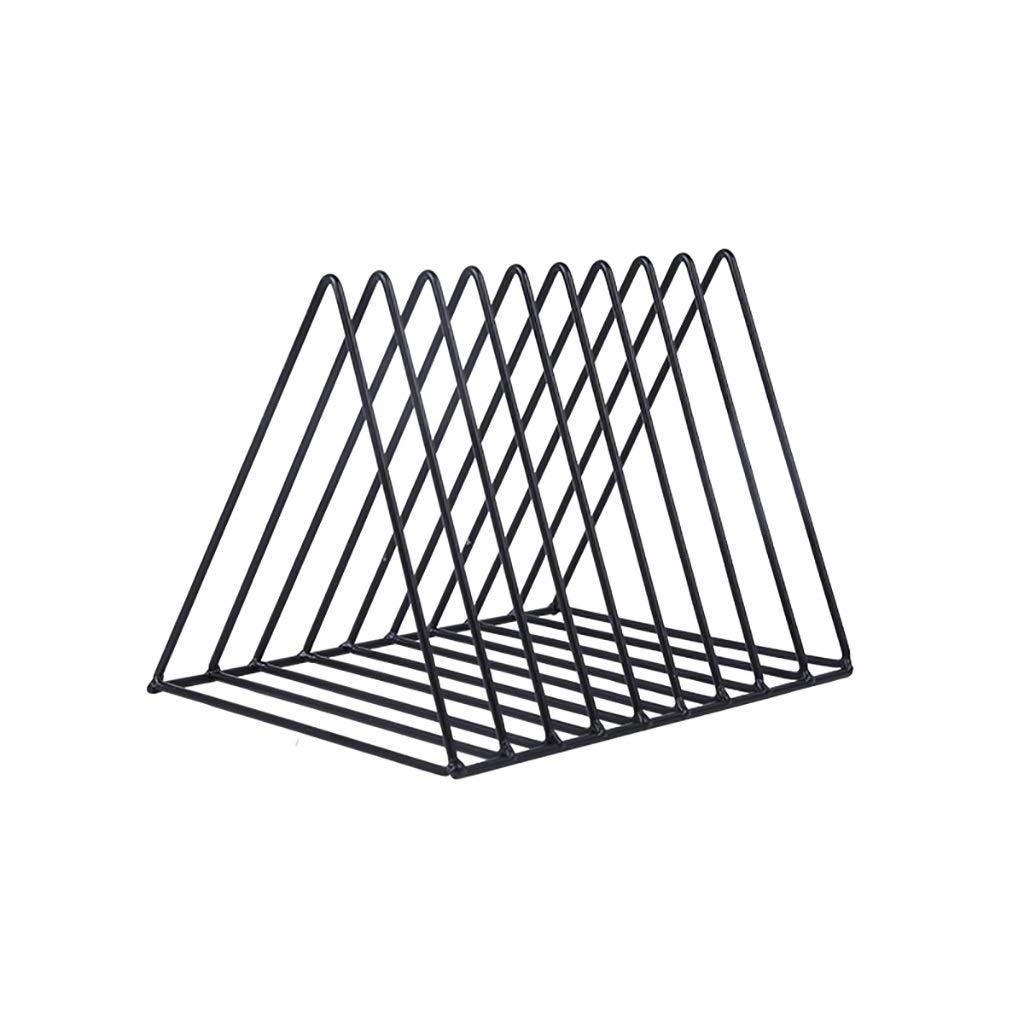 Bxwjg 9 Slot Book File Rack, Triangle File Holder Metal Wire Metal Magazine Rack File Organizer Desk Organizer (Color : A1)