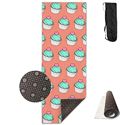 Yoga Mat with Carrying Bag Cherry Ice Cream Fitness High Density Anti-Tear Exercise Gym Mat Exercise & Fitness