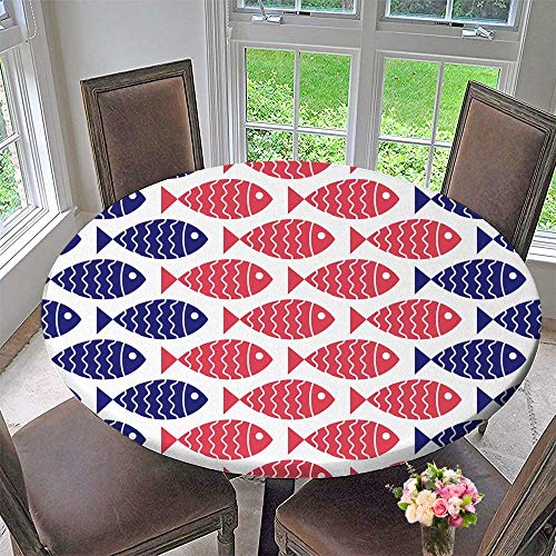 PINAFORE HOME The Round Table Cloth nauticalwith Fish Design Element for Wallpapers Baby Shower Invitation for Birthday Party, Graduation Party 59