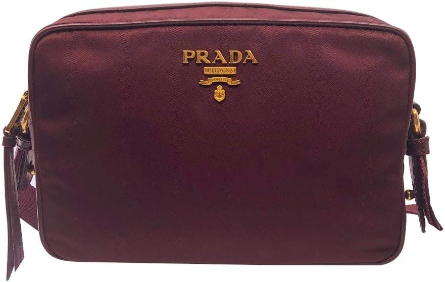 Prada Womens Burgundy Bandoliera Tessuto Nylon Leather Crossbody Bag 1BH089