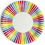 We Love Sundays Rainbow Stripe Paper Plates | 10-Pack | Great for Summer/Bright/Colorful Themed Parties