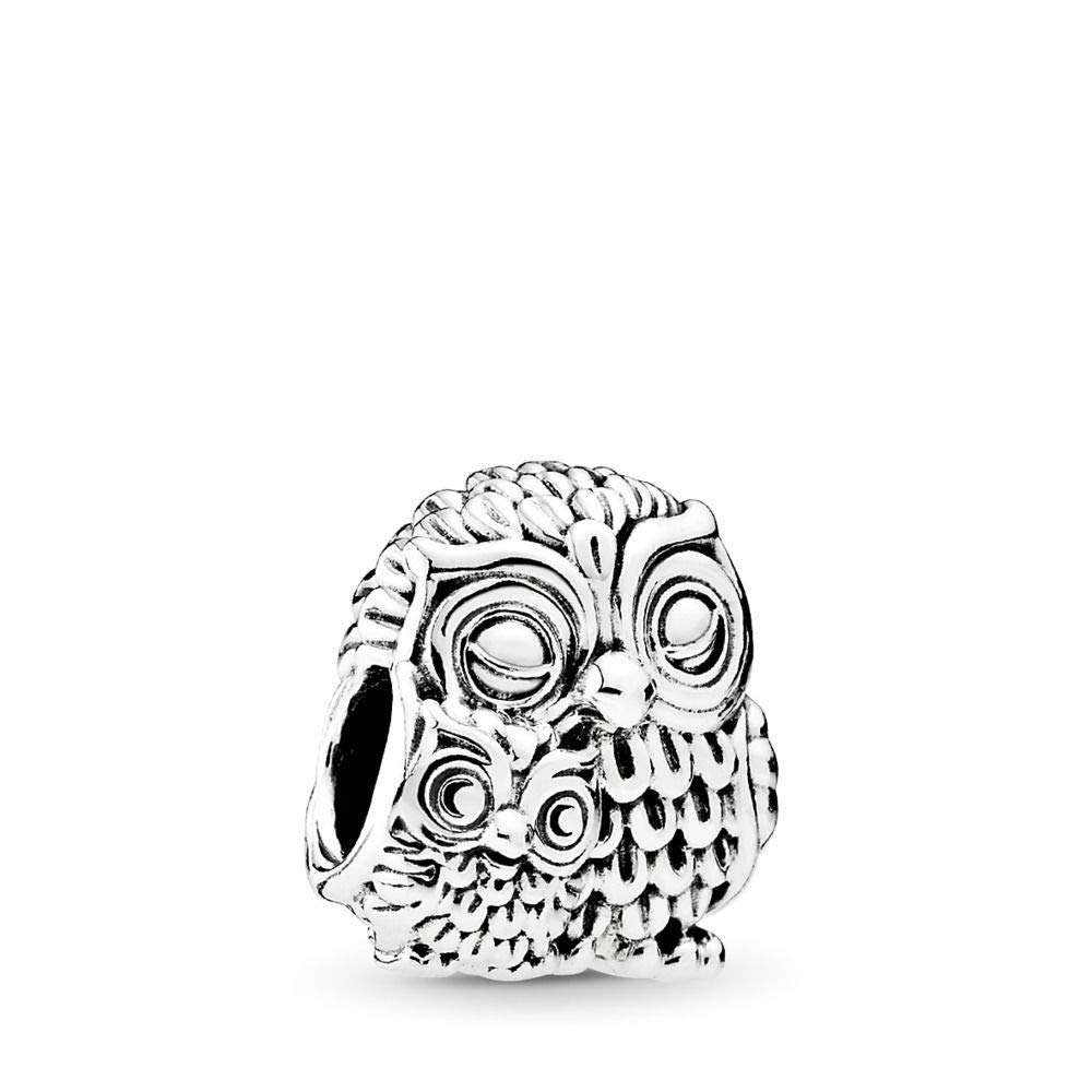 PANDORA Charming Owls Charm, Sterling Silver, One Size by PANDORA