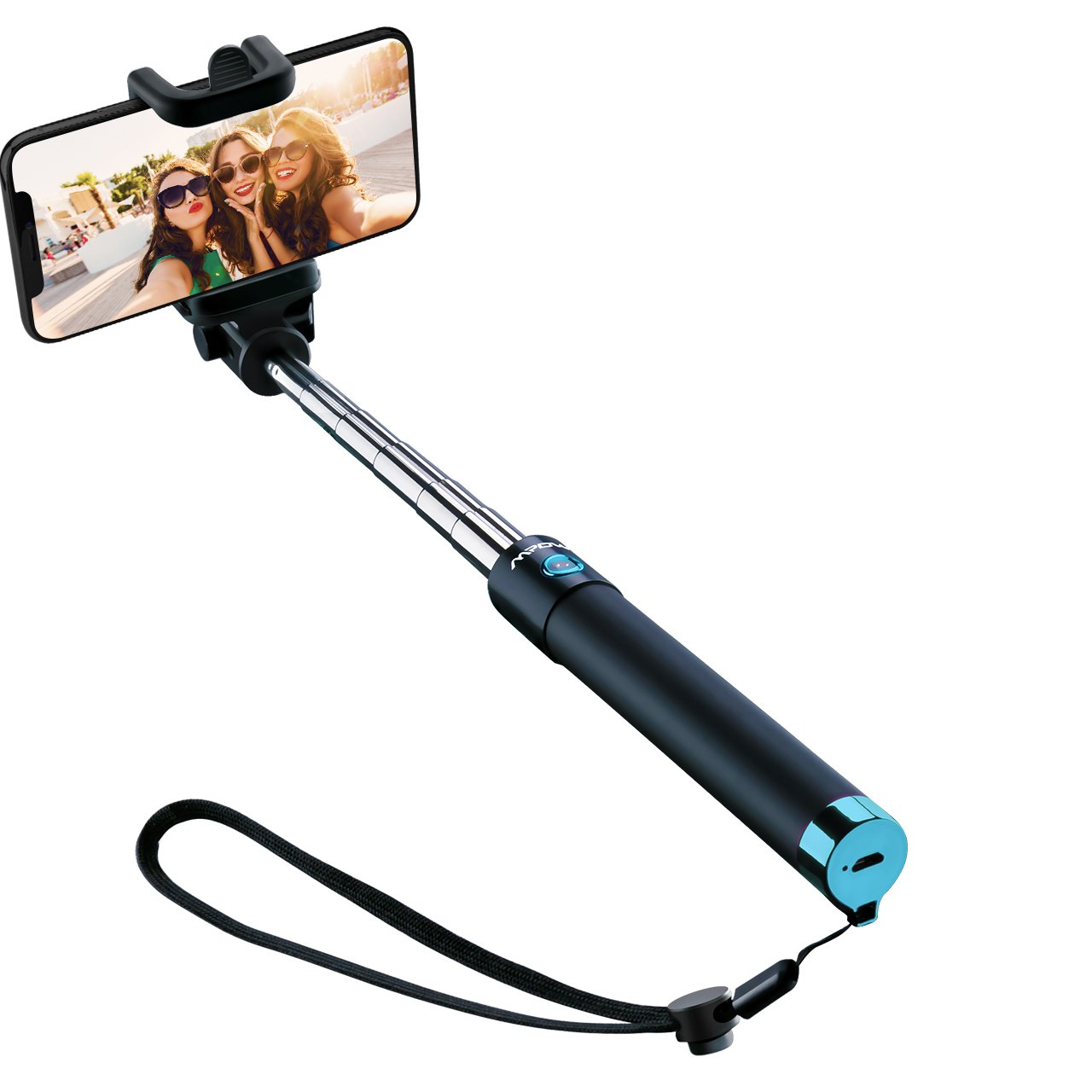 Wireless Selfie Stick, Mpow 270° Adjustable Bluetooth Selfie Stick with Built-in Bluetooth Remote Shutter Support Video Record for iPhone XS/XS Max/XR/X/8/8P/7/7P/6s/6P, Galaxy S5/S6/S7/S8 (Pink) MBT8P-PS-1