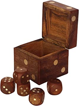 Nirvana Class Handmade Wooden 5 Dice Set with Storage Box