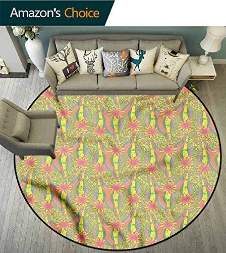 RUGSMAT Pastel Warm Soft Cotton Luxury Plush Baby Rugs,Algae Sea Mehndi Motif Floor Mat Home Decor Diameter-39