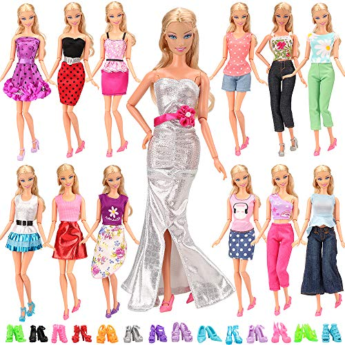 10 pairs shoes For 11.5 inches Doll 15-piece Handmade Fashion Dresses Clothes