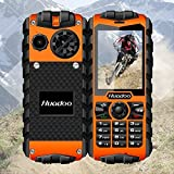 Sports Outdoors Best Deals - Huadoo H3 IP68 Military Rugged Outdoor Sports Waterproof Shockproof Dustproof 3G Cell Phone With Physical Keypad Unlocked Smartphone 2.4 Inch Quad Core Long Standby Dual SIM Mobile Phone (Orange)