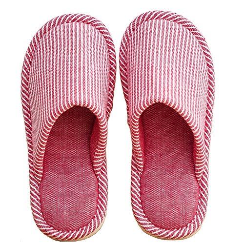 Teerfu Womens Mens Pantofole Casa Inverno Caldo Confortevole Antiscivolo Scarpe Interne A Maglia Comfort Rosa Scuro