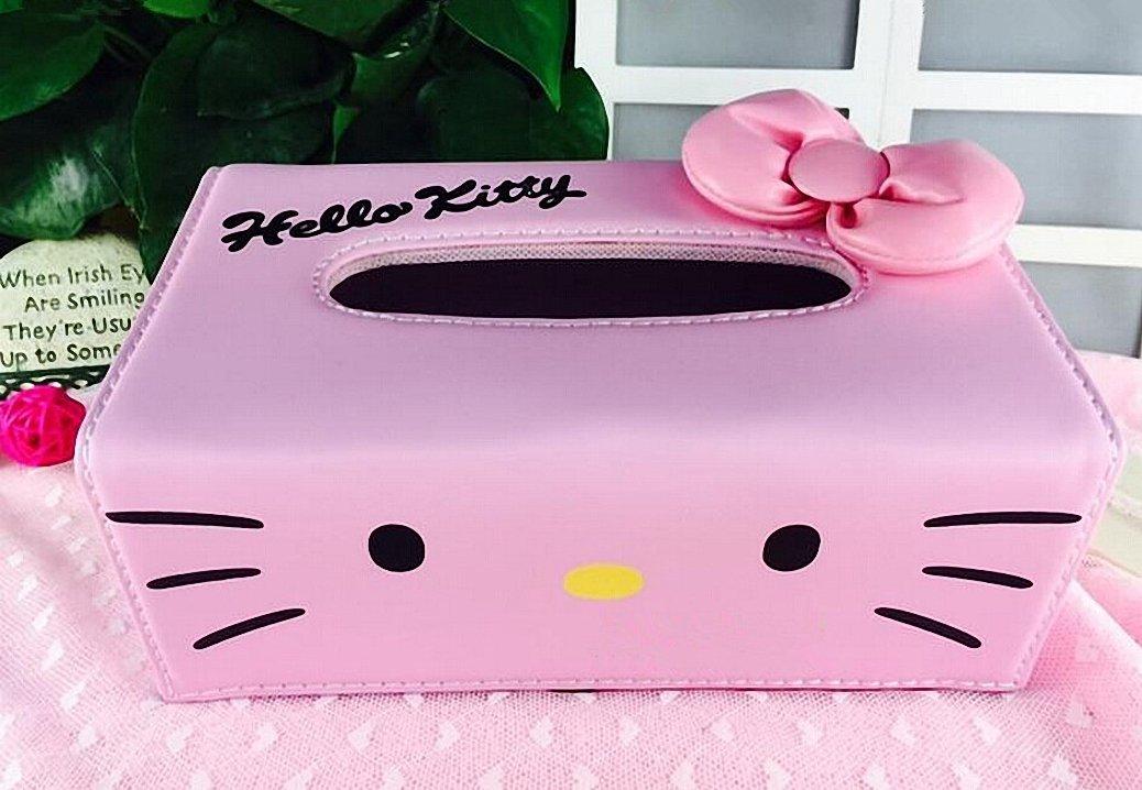 Hello Kitty Bow-knot Pink PU Leather Tissue Box Holder Napkin Box Pumping Paper Box