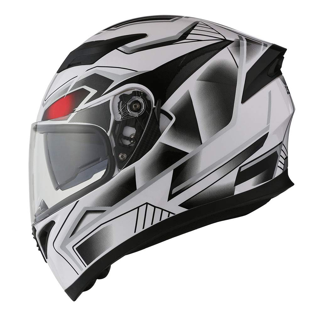 1STorm Motorcycle Street Bike Dual Visor//Sun Visor Full Face Helmet Mechanic Carbon Fiber Black 57-58 CM,22.4//22.8 Inch Size Large