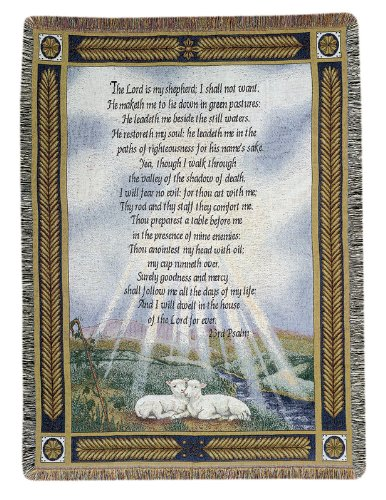 Manual Weavers Religious Lamb 23rd Psalm Bible Verse Woven Tapestry Throw Blanket 50