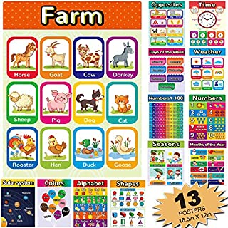 Educational Posters for Kindergarten, Classroom Posters Elementary Learning Posters for Preschool, Toddlers Learning Posters Including Alphabet Colors and Numbers