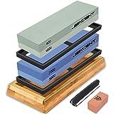 Jeacent Knife Sharpening Stone Set, 4 Side 400/1000 2000/5000 Grit Whetstone, Kitchen Blade Sharpener Stone with Non…