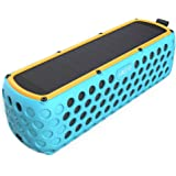 Solar Bluetooth Speaker, Airecho 30-Hour Playtime Dual-driver HD Stereo Portable Wireless Silicone Bluetooth 4.0 Speaker for Outdoor Sport ( Splashproof and Shockproof ) - Blue