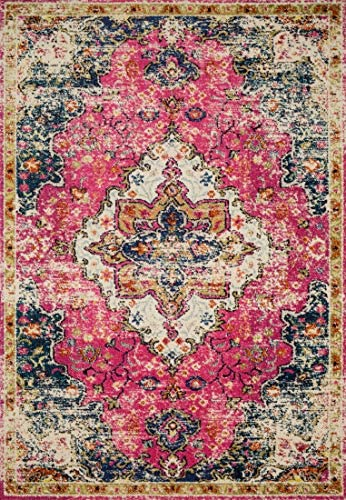 Loloi II Nadia Collection Vintage Distressed Persian Area Rug 9 -0 x 12 -0 Pink Midnight
