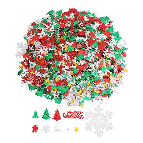 CCINEE 100g/4800 Pieces Christmas New Year Metallic Foil Confetti Sequins Table Confetti Bright Christmas and New Year Decoration Set (Christmas Confetti) -