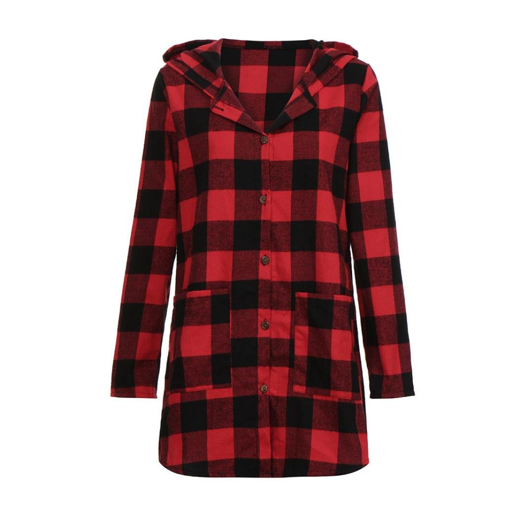 Jinjin Fashion Women Blouse-Plaid Print Cotton and Linen V-Neck Long Sleeve Pocket Hooded Tops Shirt (Red, M)