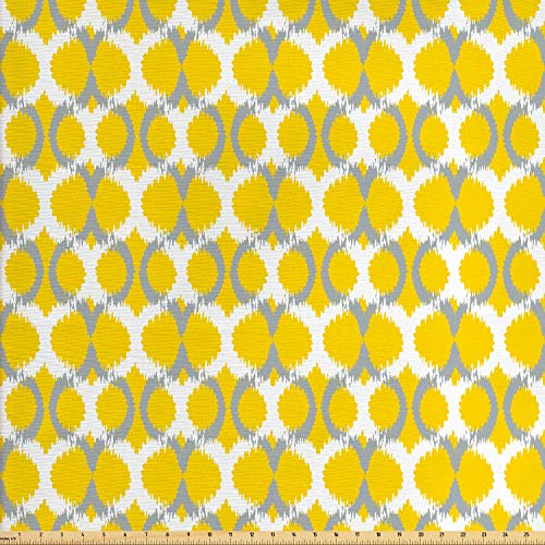 (Lunarable Ikat Fabric by The Yard, Oval and Double Mesh Ikat Motifs Modern Retro Camouflage Style Lines Print, Decorative Fabric for Upholstery and Home Accents, 1 Yard, Grey Yellow White)