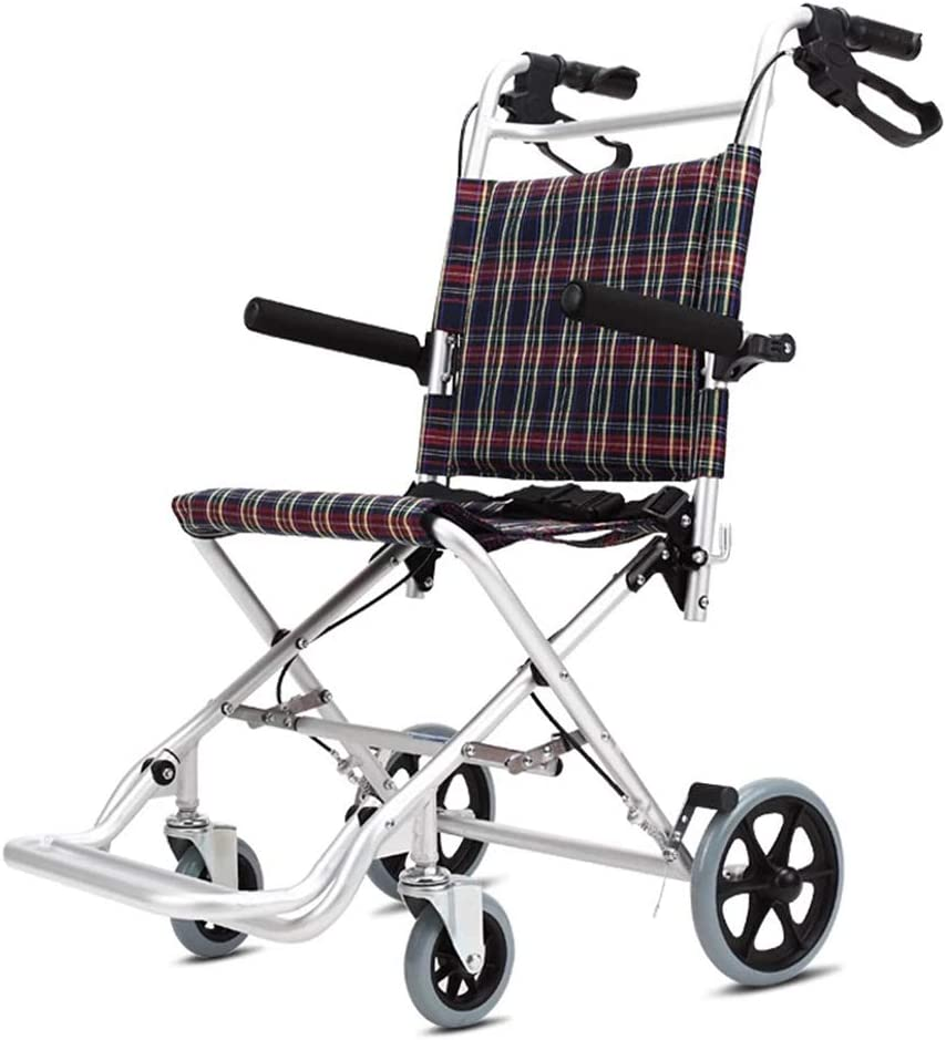 QueenYA Silla De Ruedas Plegable Aleación De Aluminio Ultraligera Portátil. Carretilla Acostado Doblez Bicicleta De Edad Avanzada Discapacitado
