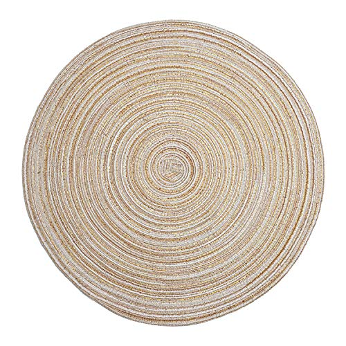 LOHAS Home 35cm Round Placemat Table Mat Set of 6 Braided Woven Placemats Washable for Kitchen Dining Table Party Gatherings (Beige)