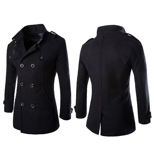 Vktech® Abrigo chaqueta de lana para hombres, doble abotonadura, para invierno, negro, X-Large: Amazon.es: Hogar