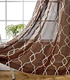 Miuco Moroccan Embroidered Semi Sheer Curtains Faux Linen Grommet Curtains for Doors 52 x 63 Inch 2 Panels, Brown Review