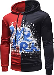 Usopu Men's Casual/Daily Sports Letter Printing Color Block Long Sleeve Hoodie