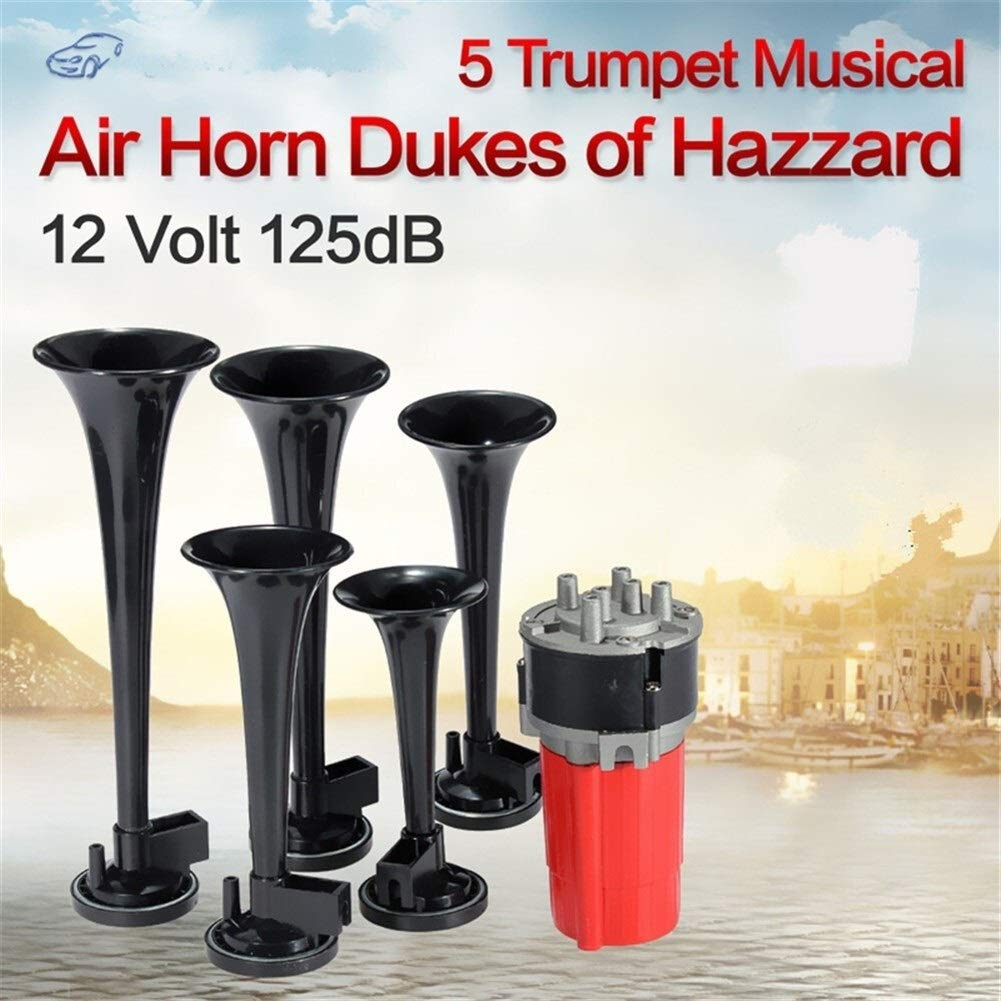 125DB Black Trumpet Musical Dixie Car Duke Of Hazzard + Compressor 12V Car Air Horn (Color : Black-1) by XIAOLAOBIAO