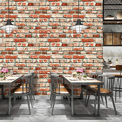 (YT6501 Red Brick Wallpaper Roll,Vintage Faux Brick Panel Wallpaper for Bedroom Living Room Cafe Bar Wall Decoration 393.7in×20.9in)