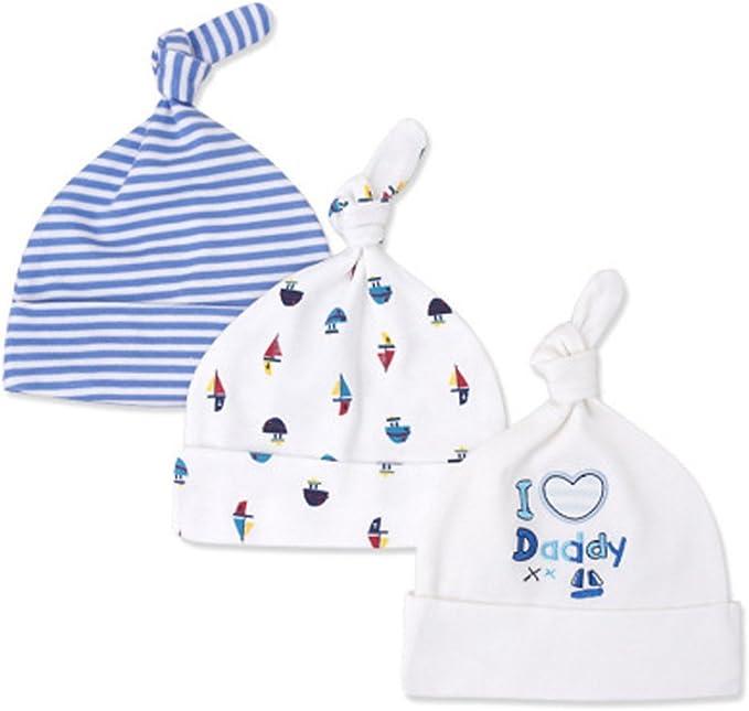 LACOFIA Neugeborenes Baby Jungen M/ädchen Baumwolle Gedruckt Beanie Hut Unisex Kleinkind Top Knoten M/ütze 0-6 Monate Pack 3