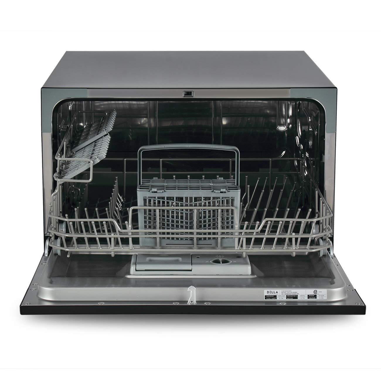 DELLA Portable Compact Countertop Dishwasher 6 Wash Cycles Dishwashers Setting Racks Silverware Basket, Black