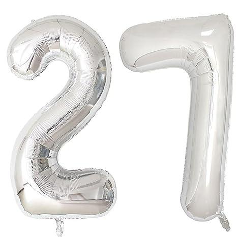 Amazon.com: Lámina de Plata de 40 inch 27 helio Jumbo número ...