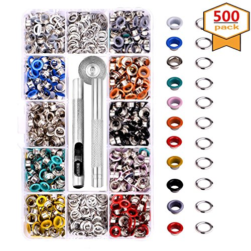 Metal Grommets Kit 3/16 inch 500Pcs Multi-Color Metal Eyelets Kits Shoe Eyelets Grommet Sets with Storage Box for Shoes Clothes Crafts Bag DIY Project (10 ()