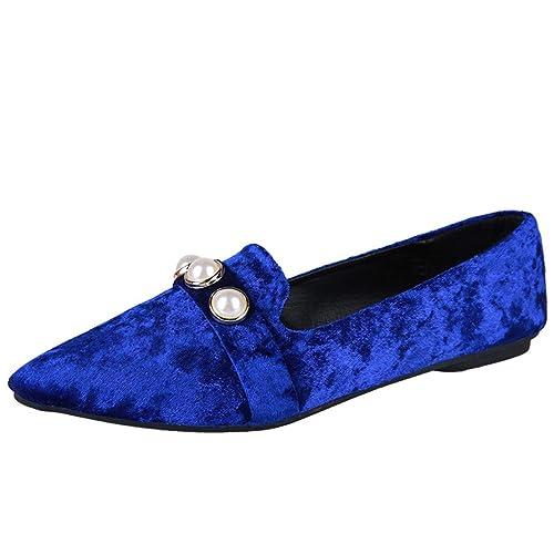 Zapatos Planos de Las Mujeres, Moda Dedo del pie Acentuado conducción Mocasines Zapatos Negro Azul Caqui: Amazon.es: Zapatos y complementos