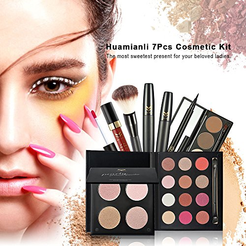Huamianli 7Pcs Cosmetic Makeup Set 4 Colors Pressed Powder Mascara Eyeshadow Eyebrow Powder Lip Gloss Eyeliner Pen Blush Brush