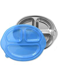 Sage Spoonfuls Happy Foodie Stainless Steel Divided Kids Plate with Lid, Blue