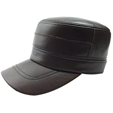98510d67d66 Sandy Ting Men Vintage Genuine Leather Military Cadet Cap Army Style Hat   Amazon.co.uk  Clothing